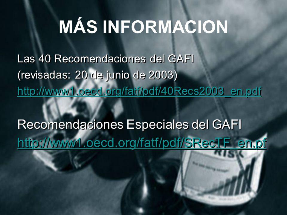 MÁS INFORMACION Recomendaciones Especiales del GAFI