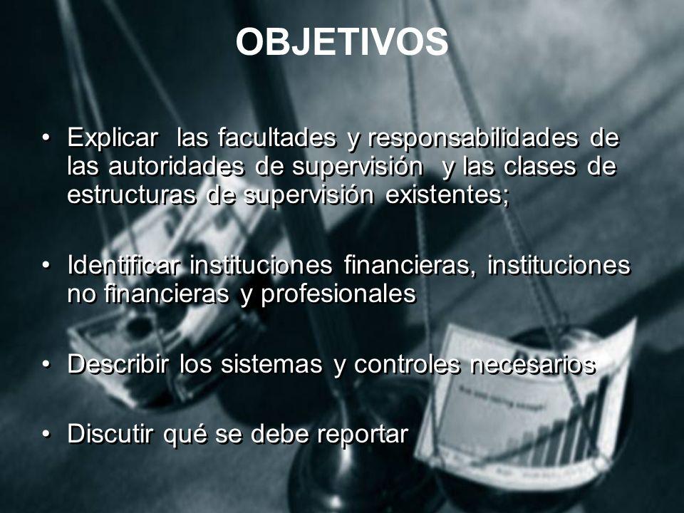 OBJETIVOS Explicar las facultades y responsabilidades de las autoridades de supervisión y las clases de estructuras de supervisión existentes;