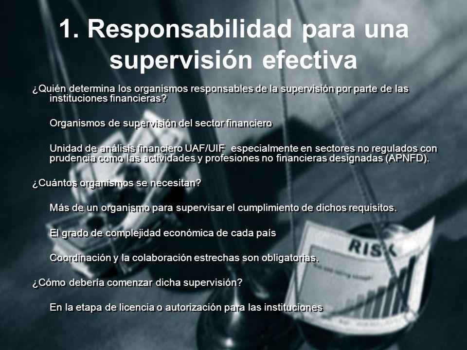 1. Responsabilidad para una supervisión efectiva
