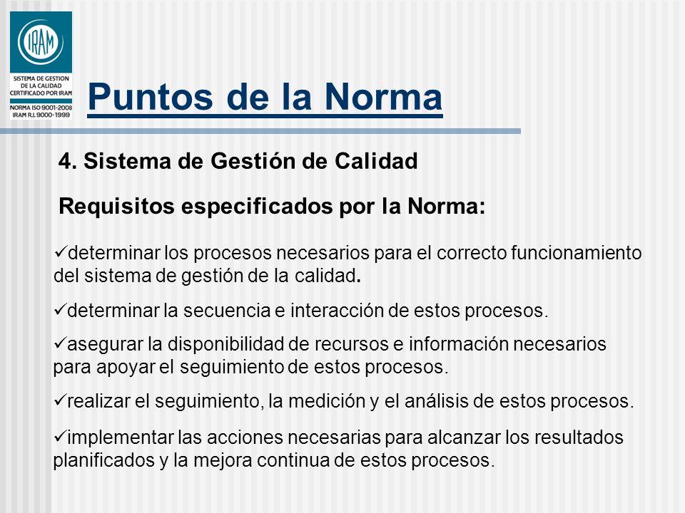 Puntos de la Norma 4. Sistema de Gestión de Calidad