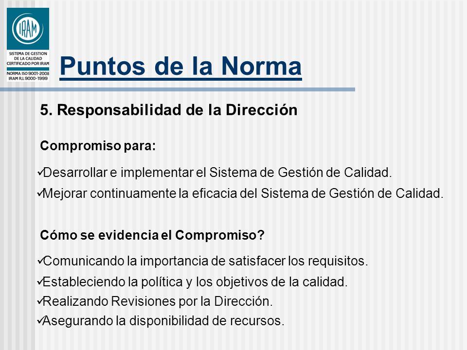 Puntos de la Norma 5. Responsabilidad de la Dirección Compromiso para:
