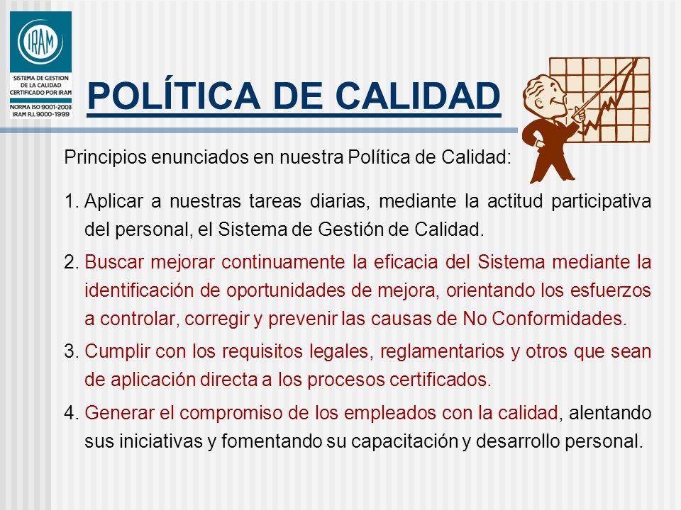 POLÍTICA DE CALIDAD Principios enunciados en nuestra Política de Calidad: