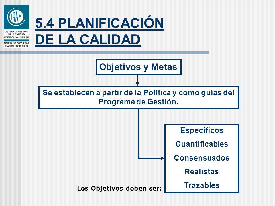 5.4 PLANIFICACIÓN DE LA CALIDAD