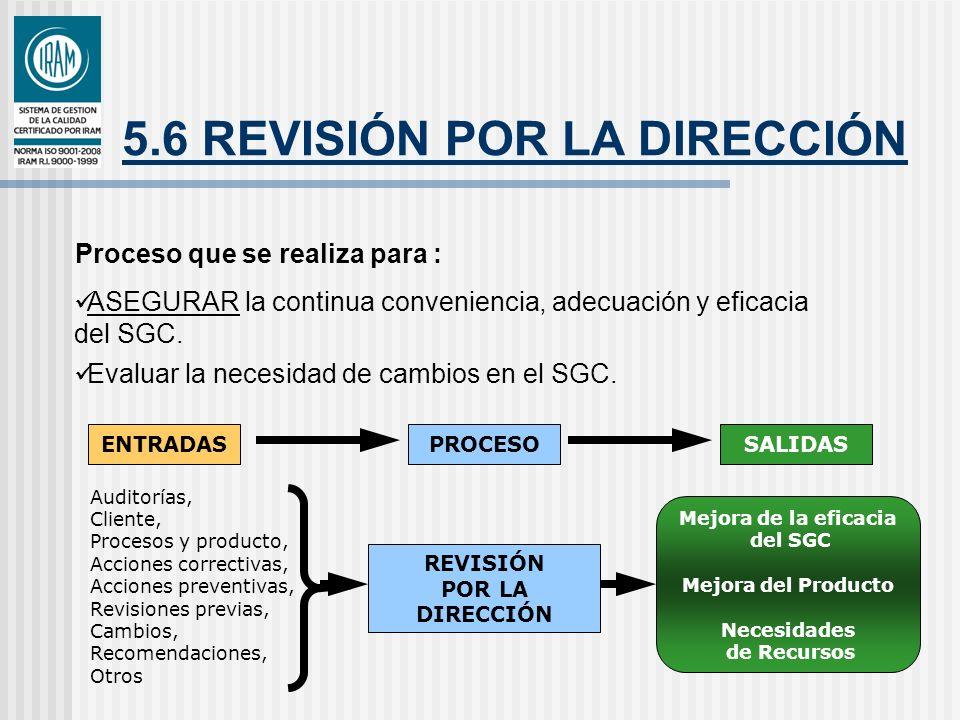 5.6 REVISIÓN POR LA DIRECCIÓN