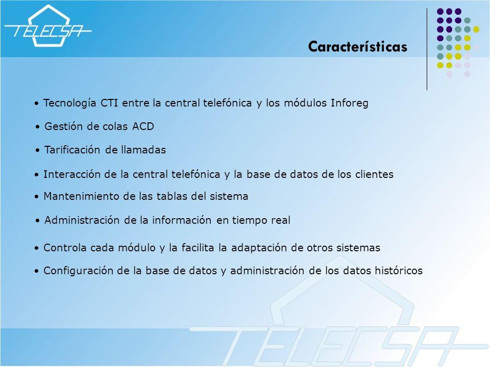 Características Tecnología CTI entre la central telefónica y los módulos Inforeg. Gestión de colas ACD.