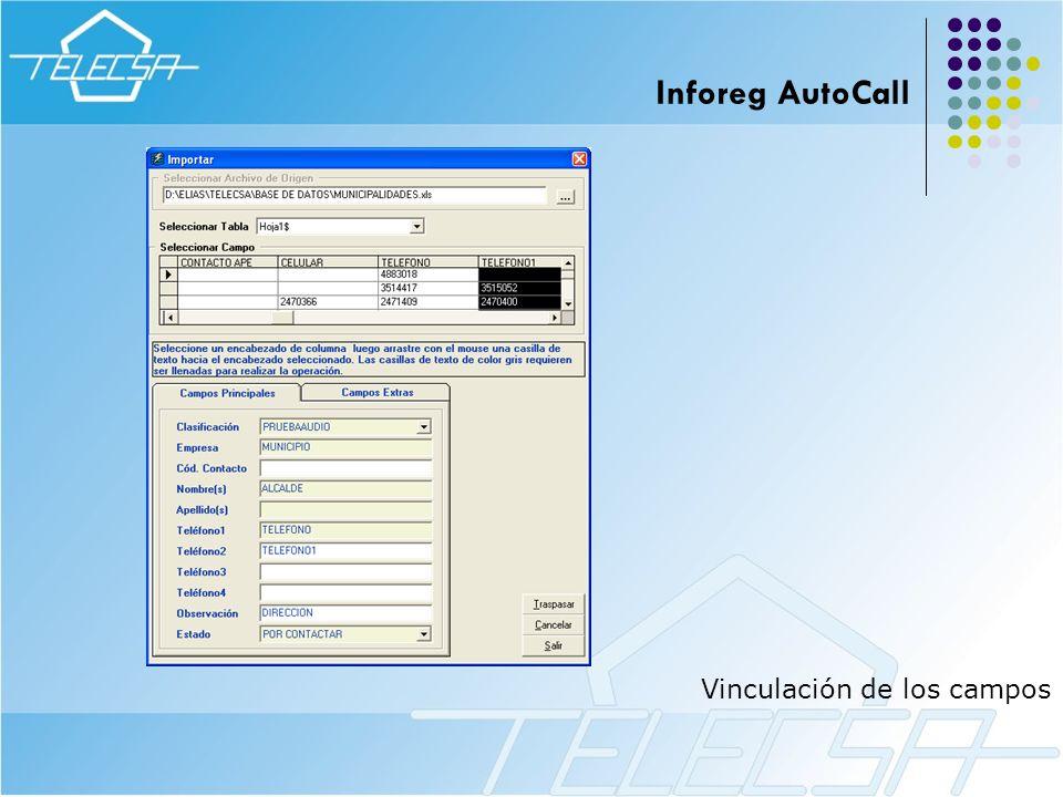 Inforeg AutoCall Vinculación de los campos