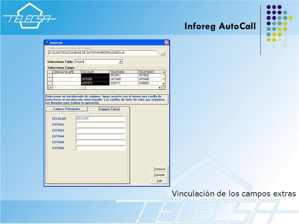 Inforeg AutoCall Vinculación de los campos extras