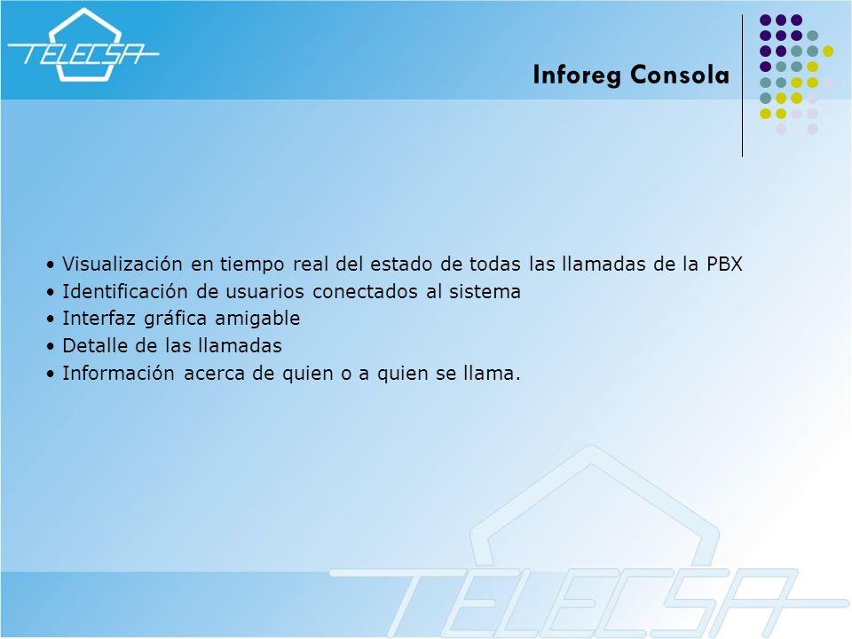 Inforeg Consola Visualización en tiempo real del estado de todas las llamadas de la PBX. Identificación de usuarios conectados al sistema.