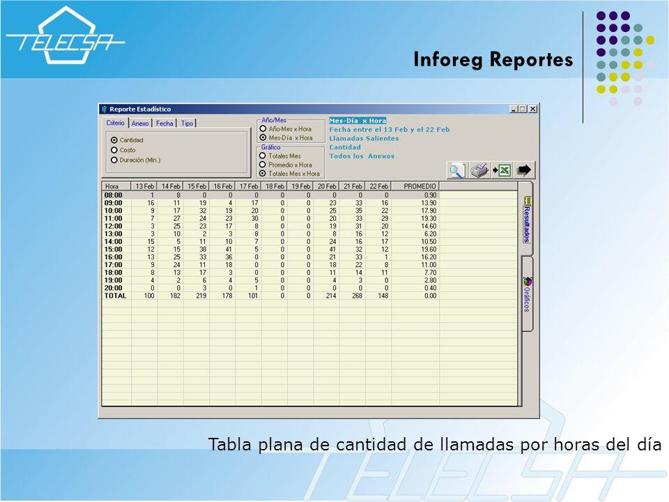 Inforeg Reportes Tabla plana de cantidad de llamadas por horas del día