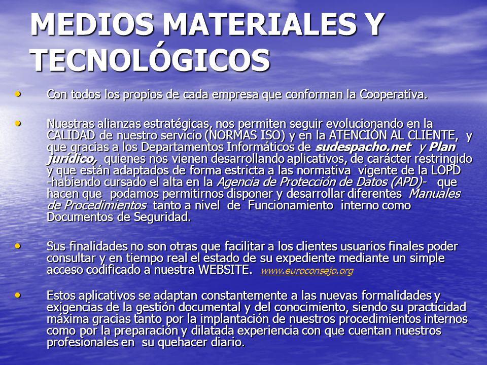 MEDIOS MATERIALES Y TECNOLÓGICOS