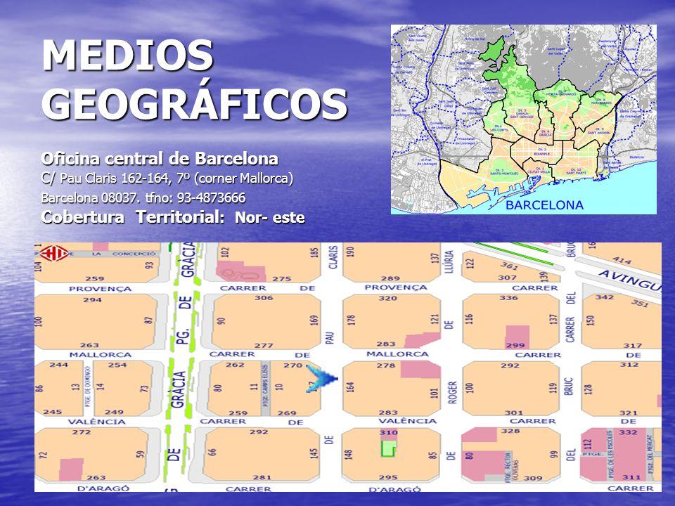 MEDIOS GEOGRÁFICOS Oficina central de Barcelona C/ Pau Claris 162-164, 7º (corner Mallorca) Barcelona 08037.