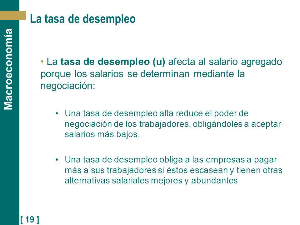 La tasa de desempleo La tasa de desempleo (u) afecta al salario agregado porque los salarios se determinan mediante la negociación: