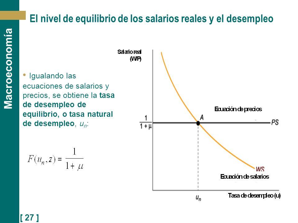 El nivel de equilibrio de los salarios reales y el desempleo