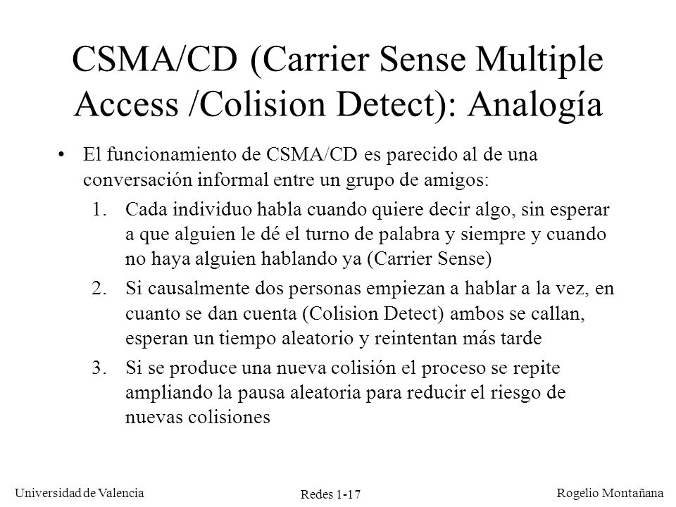 CSMA/CD (Carrier Sense Multiple Access /Colision Detect): Analogía