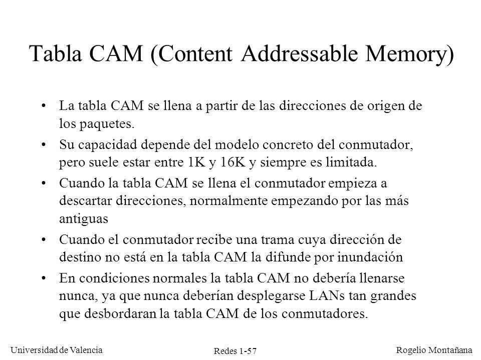 Tabla CAM (Content Addressable Memory)