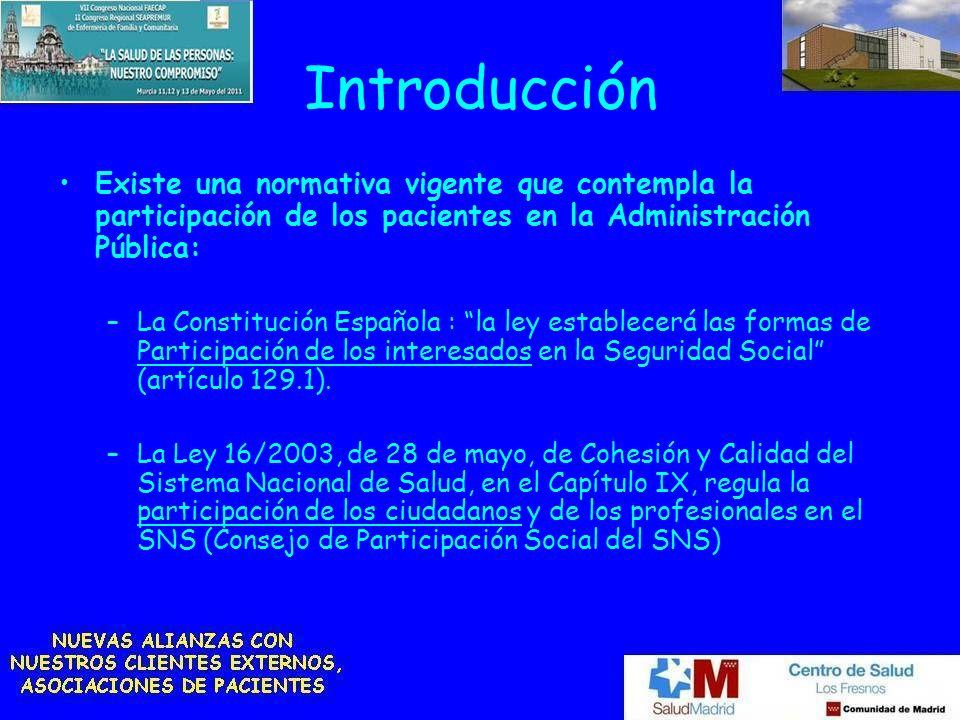 Introducción Existe una normativa vigente que contempla la participación de los pacientes en la Administración Pública: