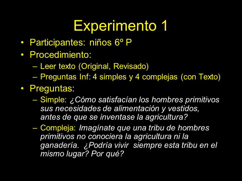 Experimento 1 Participantes: niños 6º P Procedimiento: Preguntas: