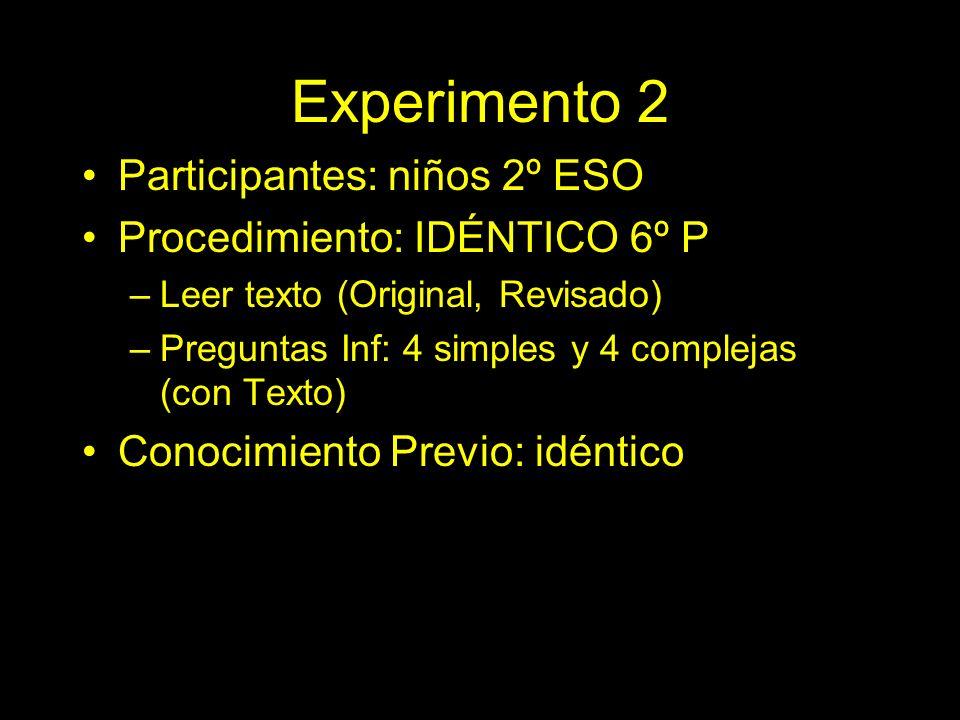 Experimento 2 Participantes: niños 2º ESO Procedimiento: IDÉNTICO 6º P