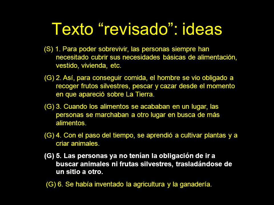Texto revisado : ideas