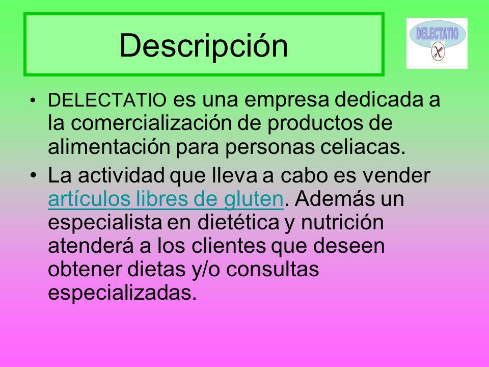 Descripción DELECTATIO es una empresa dedicada a la comercialización de productos de alimentación para personas celiacas.
