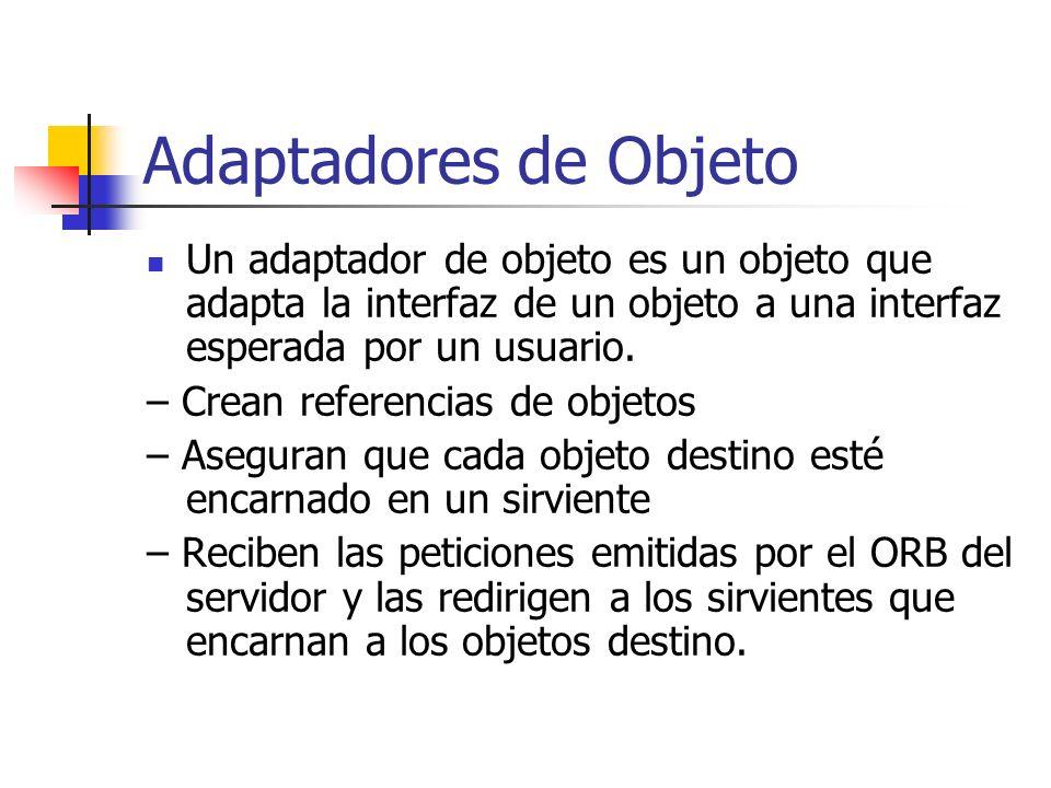Adaptadores de ObjetoUn adaptador de objeto es un objeto que adapta la interfaz de un objeto a una interfaz esperada por un usuario.