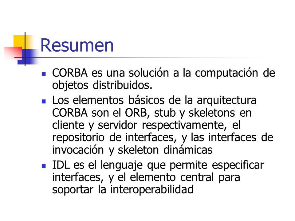 Resumen CORBA es una solución a la computación de objetos distribuidos.