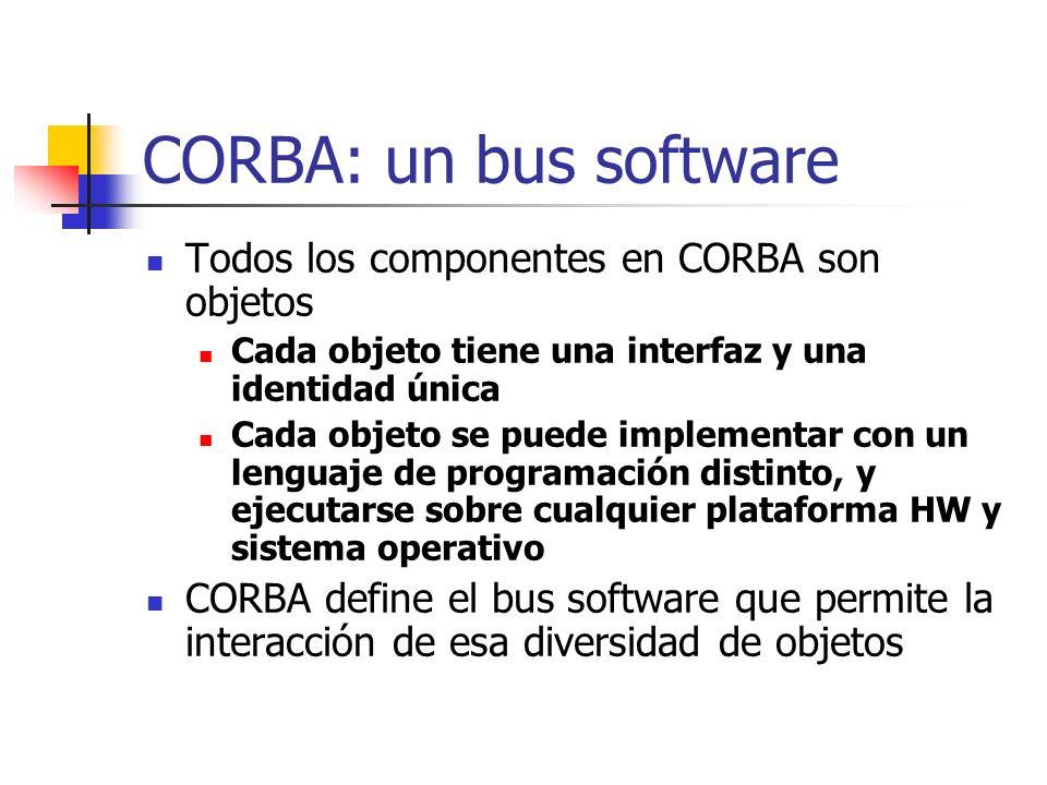 CORBA: un bus software Todos los componentes en CORBA son objetos