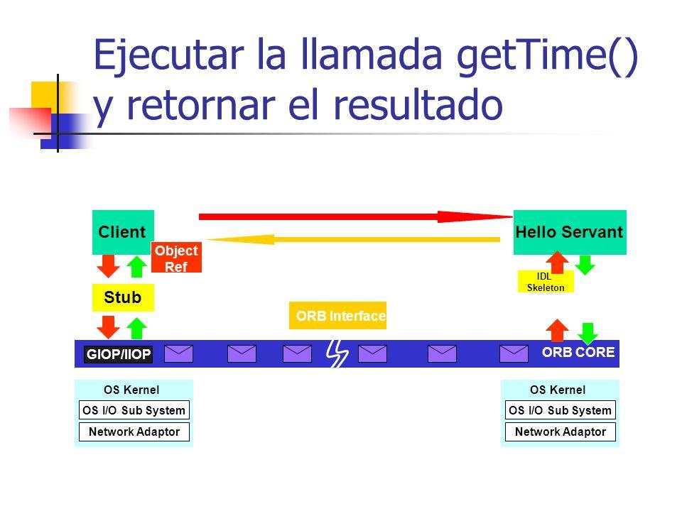 Ejecutar la llamada getTime() y retornar el resultado