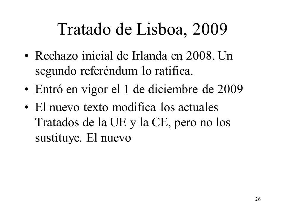 Tratado de Lisboa, 2009 Rechazo inicial de Irlanda en 2008. Un segundo referéndum lo ratifica. Entró en vigor el 1 de diciembre de 2009.