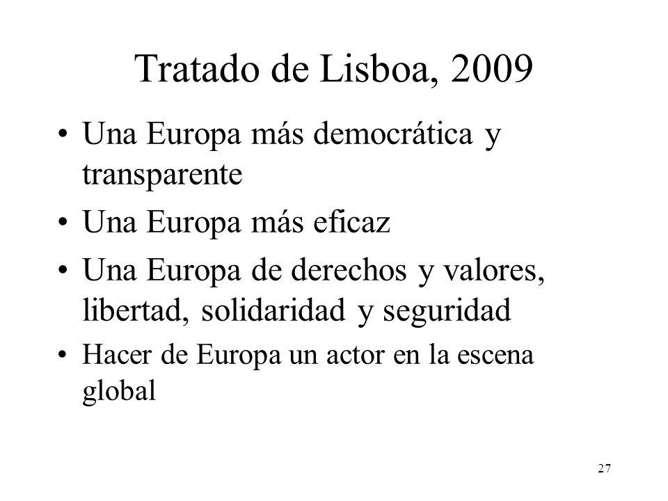 Tratado de Lisboa, 2009 Una Europa más democrática y transparente