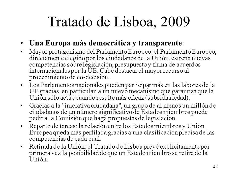 Tratado de Lisboa, 2009 Una Europa más democrática y transparente: