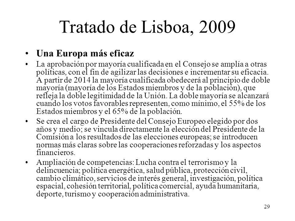 Tratado de Lisboa, 2009 Una Europa más eficaz