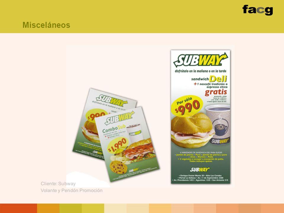 Misceláneos Cliente: Subway Volante y Pendón Promoción