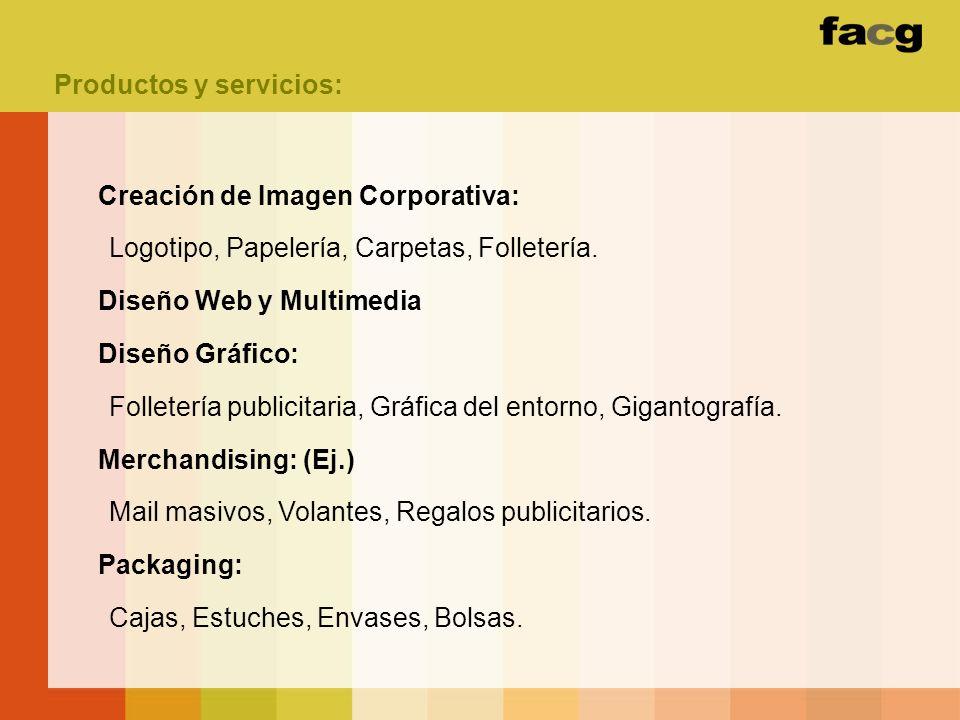 Productos y servicios: