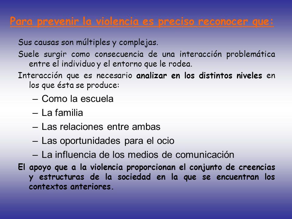 Para prevenir la violencia es preciso reconocer que: