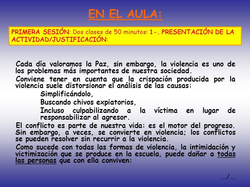 EN EL AULA: PRIMERA SESIÓN: Dos clases de 50 minutos: 1-. PRESENTACIÓN DE LA ACTIVIDAD/JUSTIFICACIÓN: