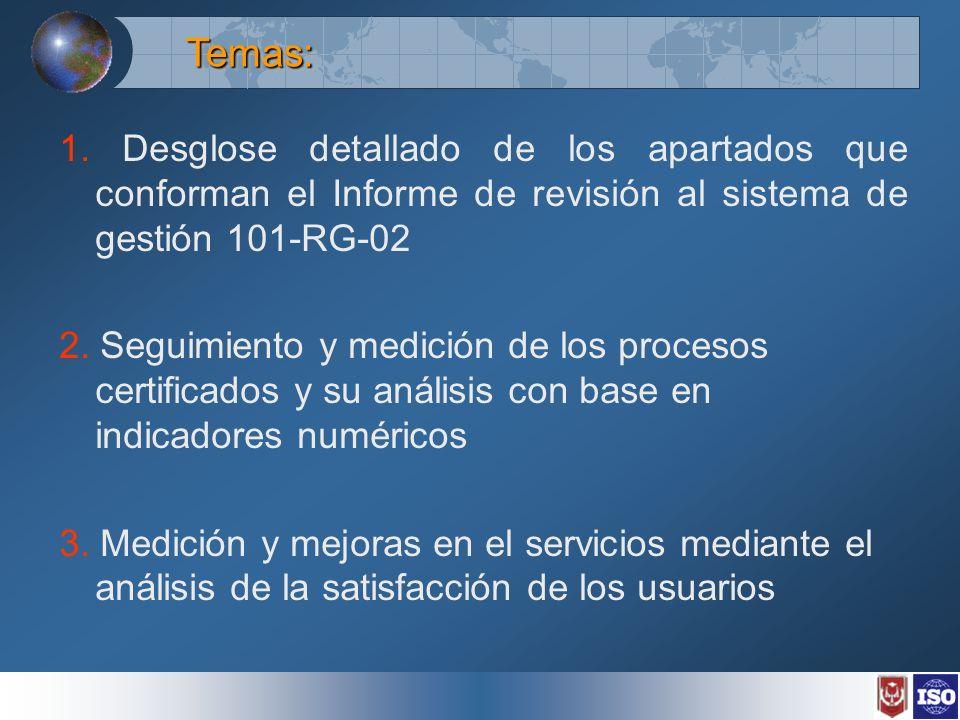 Temas: 1. Desglose detallado de los apartados que conforman el Informe de revisión al sistema de gestión 101-RG-02.