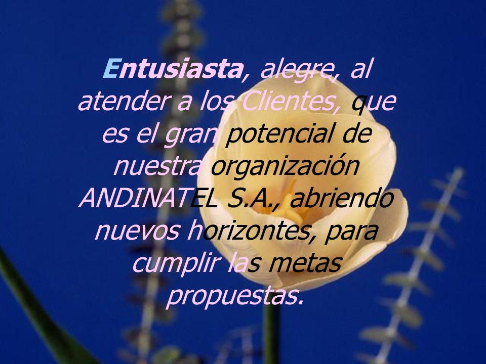 Entusiasta, alegre, al atender a los Clientes, que es el gran potencial de nuestra organización ANDINATEL S.A., abriendo nuevos horizontes, para cumplir las metas propuestas.