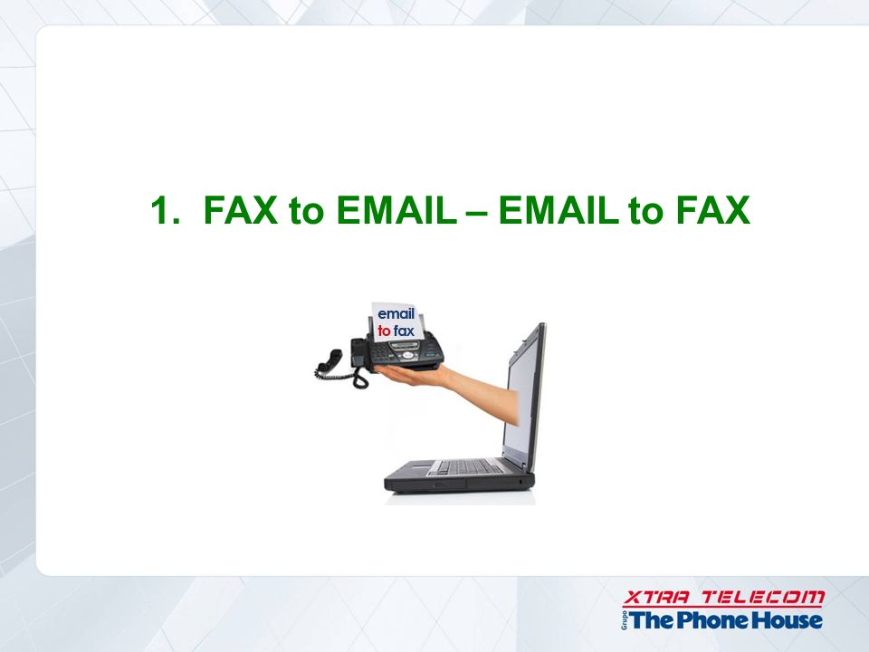 1. FAX to EMAIL – EMAIL to FAX