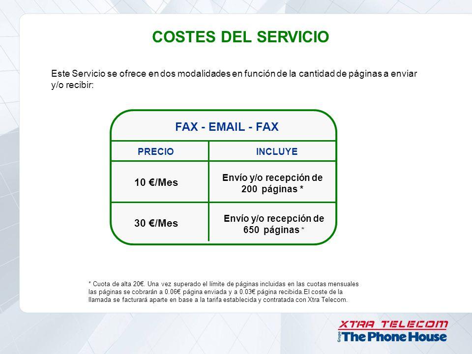 COSTES DEL SERVICIO FAX - EMAIL - FAX 10 €/Mes 30 €/Mes