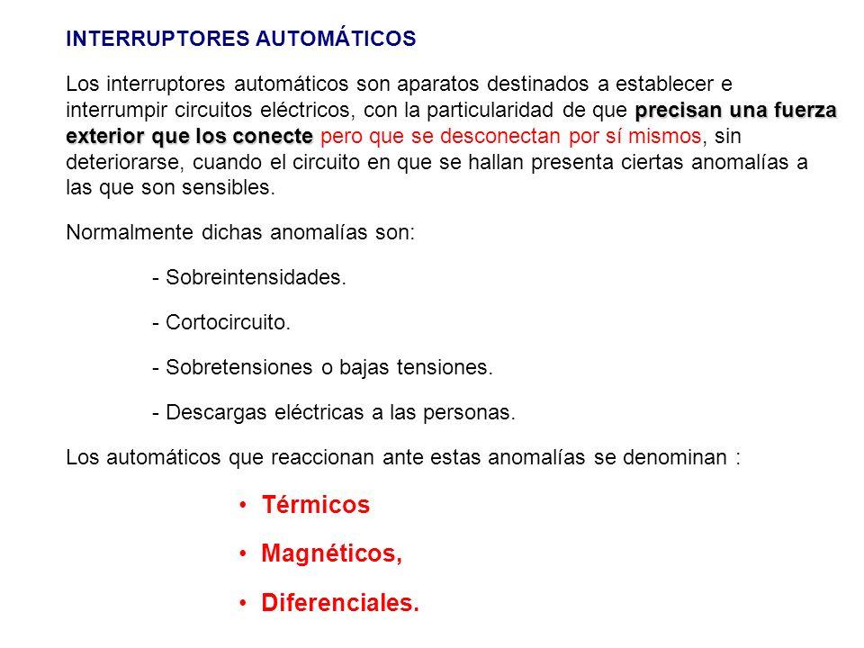 Térmicos Magnéticos, Diferenciales. INTERRUPTORES AUTOMÁTICOS