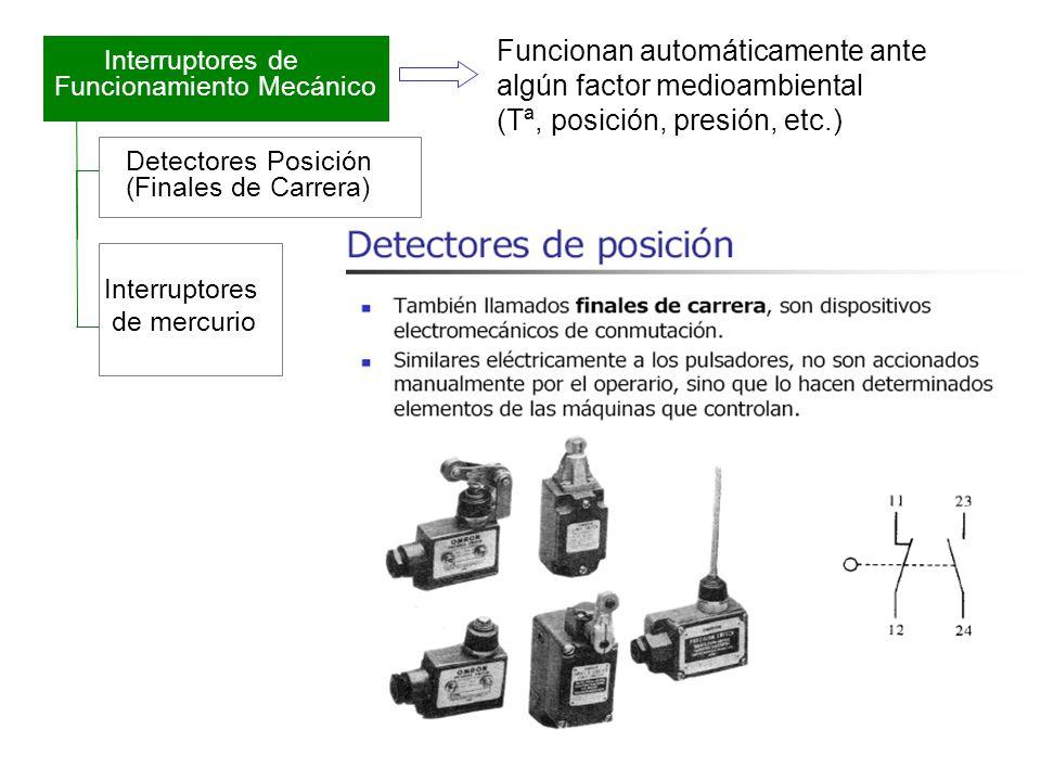 Funcionan automáticamente ante algún factor medioambiental (Tª, posición, presión, etc.)