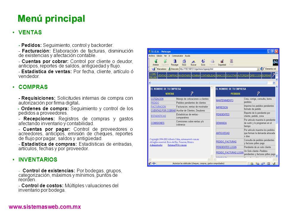 Menú principal VENTAS COMPRAS INVENTARIOS www.sistemasweb.com.mx