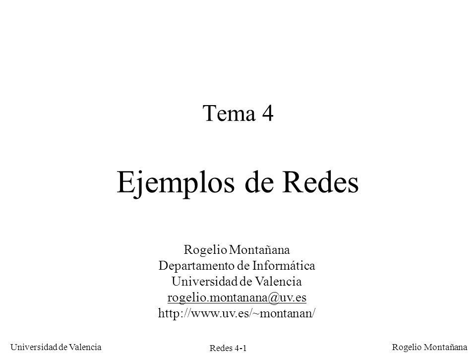 Tema 4 Ejemplos de Redes Rogelio Montañana Departamento de Informática