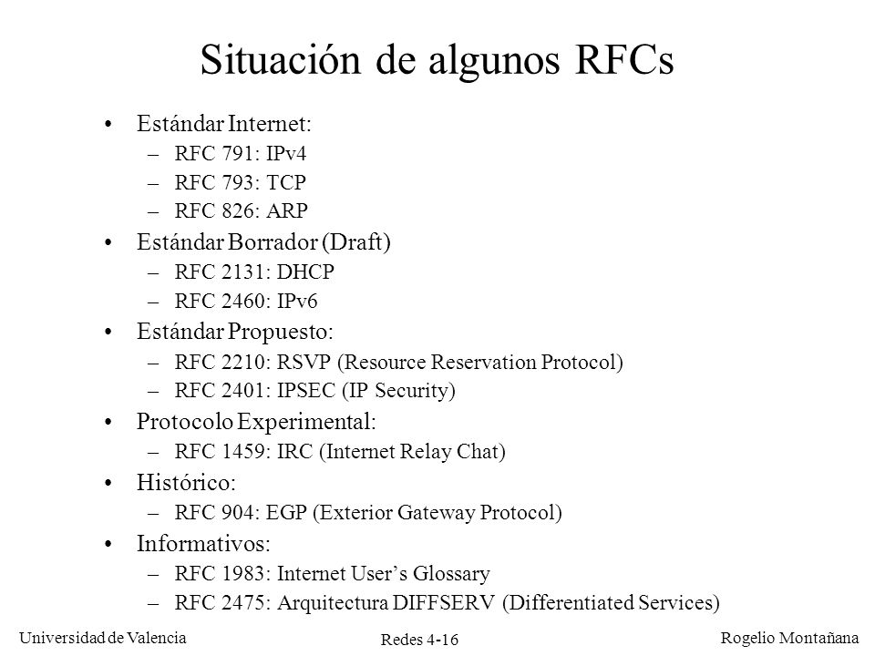 Situación de algunos RFCs