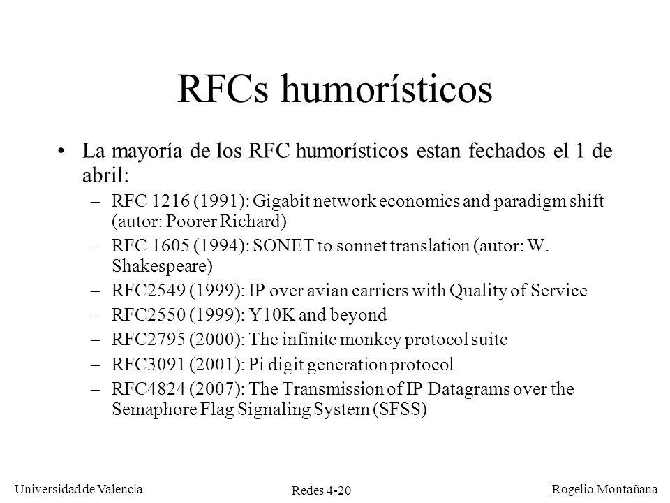 Ejemplos de RedesRFCs humorísticos. La mayoría de los RFC humorísticos estan fechados el 1 de abril: