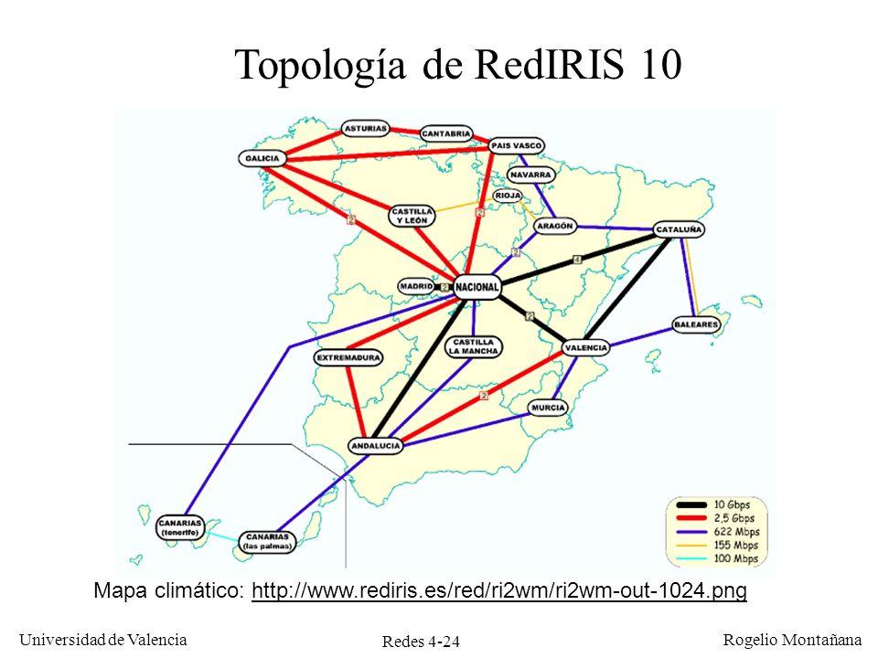 Ejemplos de Redes Topología de RedIRIS 10. Mapa climático: http://www.rediris.es/red/ri2wm/ri2wm-out-1024.png.