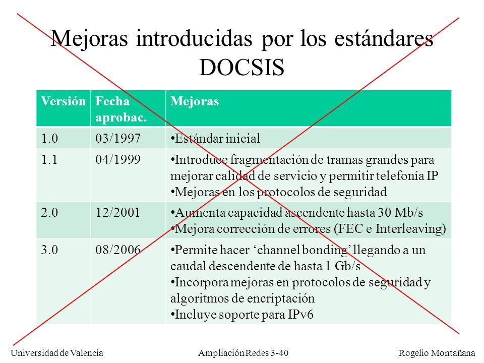 Mejoras introducidas por los estándares DOCSIS