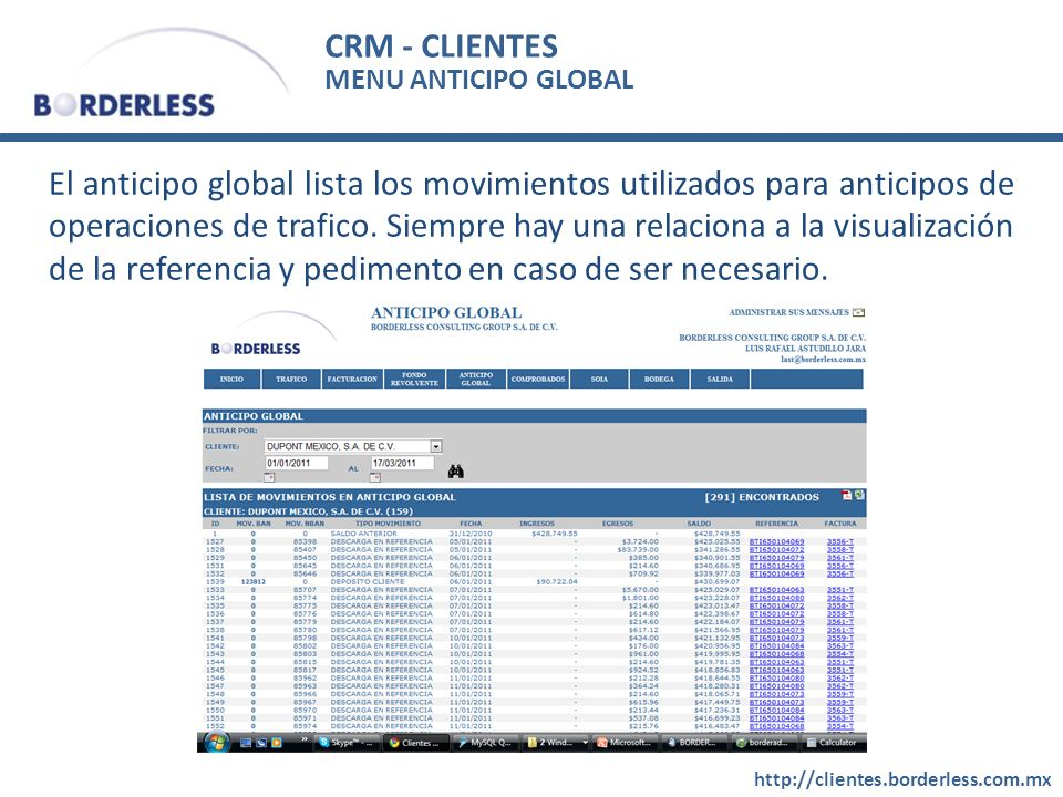 CRM - CLIENTES MENU ANTICIPO GLOBAL.