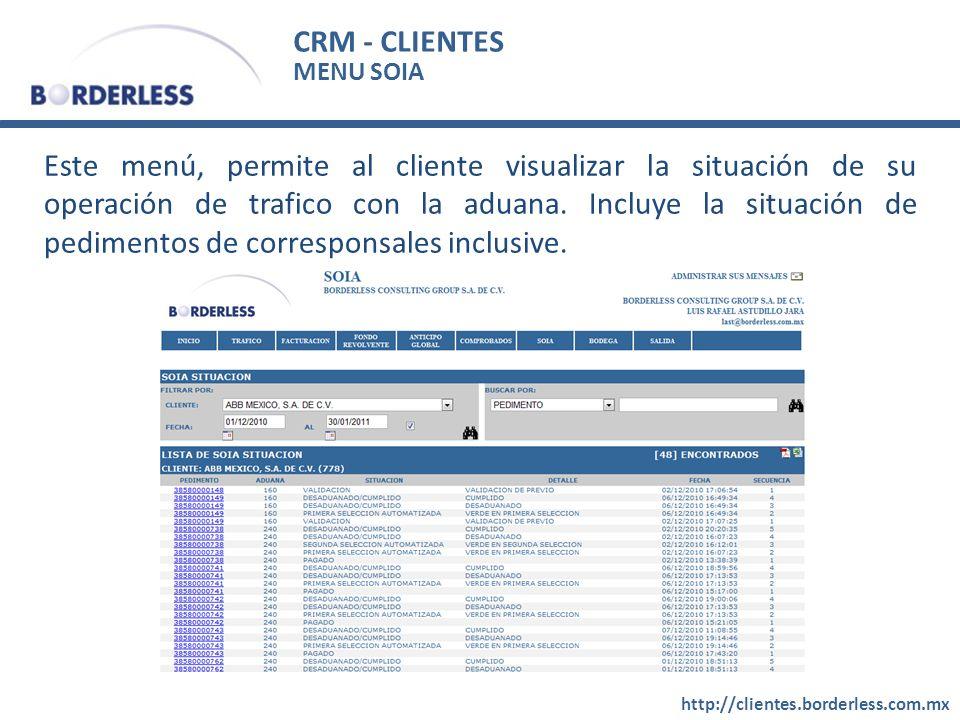 CRM - CLIENTES MENU SOIA.